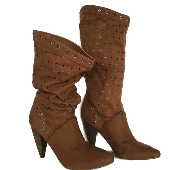 Guess Shoes - Womens 7.5 M Rust Brown Distressed Slouch Leather